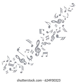 Vector illustration of a swirl of musical symbols. Silhouette musical symbols. Template for business card, poster, banner, design elements. Isolated on white background.