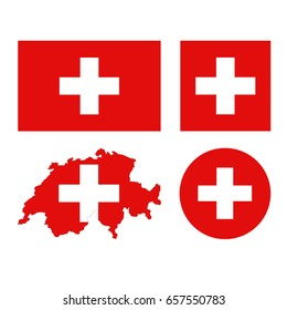 vector illustration of Swiss flag and map