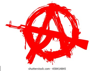Vector illustration symbol anarchy with Ak - 47 for design tattoo or t-shirt design