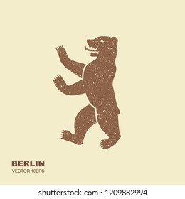 Vector illustration symbol of Berlin, Germany Bear in flat style with scuffed effect