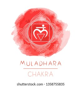 Vector illustration with symbol chakra Muladhara and watercolor element on white background. Circle mandala pattern and hand drawn lettering. Colored.