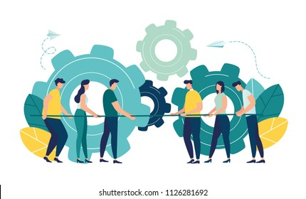 Vector illustration, a symbol of competition, competition, corporate conflict, tug of war, working mechanism