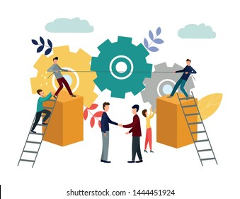 Vector illustration, symbol of competition, corporate conflict, tug-of-war, working mechanism. Conflict resolution