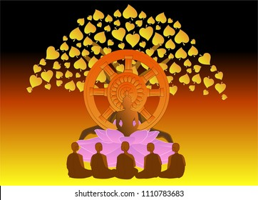 vector illustration symbol of Dharma Day Asalha Puja.This day to honor Buddha's first sermon after the Lord Buddha obtained Enlightenment.