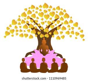 vector illustration symbol of Dharma Day Asalha Puja.This day to honor Buddha's first sermon after the Lord Buddha obtained Enlightenment. Dharma wheel and Bodhi Tree. On white background