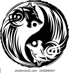 Vector illustration of a symbol of Yin and yang. Wolf swallowing of the sun. Celtic style. Sign of harmony and balance. Totem. Sacred animal of Vikings. Dark and white. Black tribal tattoo.