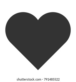 Vector illustration: symbolic black heart icon  isolated on white background for Valentine's Day decoration.