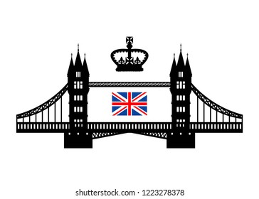 Vector illustration symbolizing the UK. Tower bridge, royal crown and flag. Eps 10