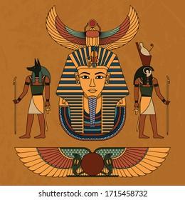 Vector illustration symbols of ancient Egypt Egyptian winged sun, gods Anubis and Horus, and pharaoh Tutankhamun, and symbol of Egyptian faith beetle Scarab.