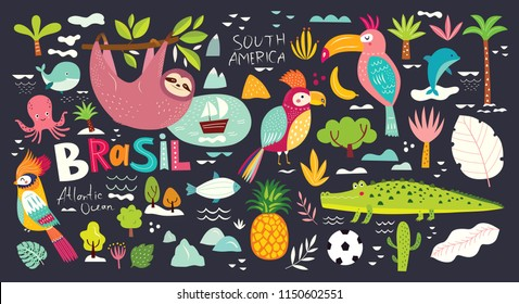 Vector illustration with Symbols of Brazil. Animals of Brazil