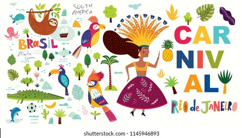 Vector illustration with symbols of Brazil.  Brazil Carnival illustration