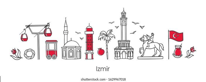 Vector Illustration Symbols Izmir Turkey Clock Stock Vector Royalty Free 1629967018