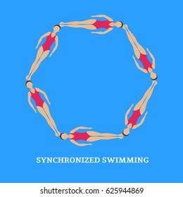 Vector illustration. Synchronized swimming. Sports element. Flat style.