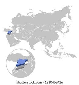 Vector illustration of Syria in blue on the grey model of Asia map with zooming replica of country.