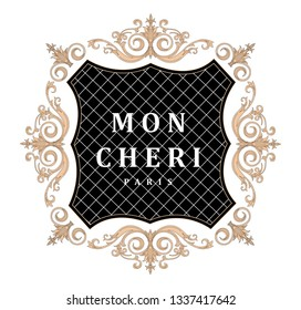 Vector illustration for t shirt design and print. French words with golden baroque elements. Vintage and rich.