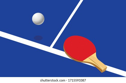 Vector illustration of table tennis. Playing pingpong