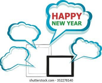 Vector illustration of a tablet pc icon with merry Happy New Year words