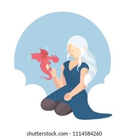 Vector illustration of tagaryen girl with her little dragon