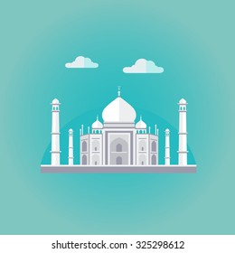 Vector illustration of Taj Mahal an ancient Palace in India