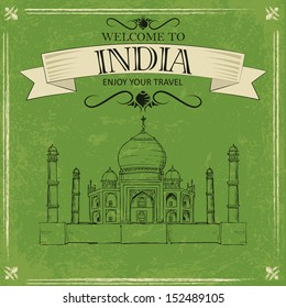 vector illustration of Taj Mahal of India for retro travel poster