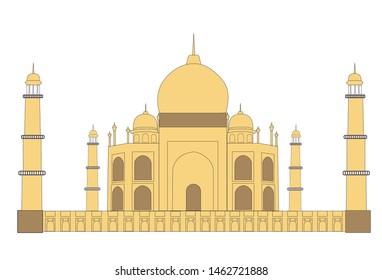 Vector illustration of Taj Mahal on white artboard. Taj Mahal vector.