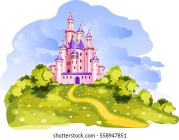 The vector illustration of tale princess castle at a Dreamland.
