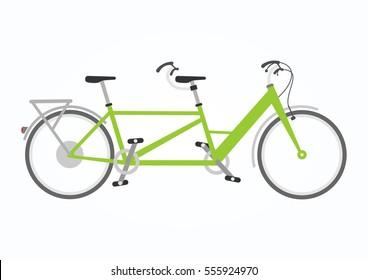 Vector illustration of tandem bike in flat style