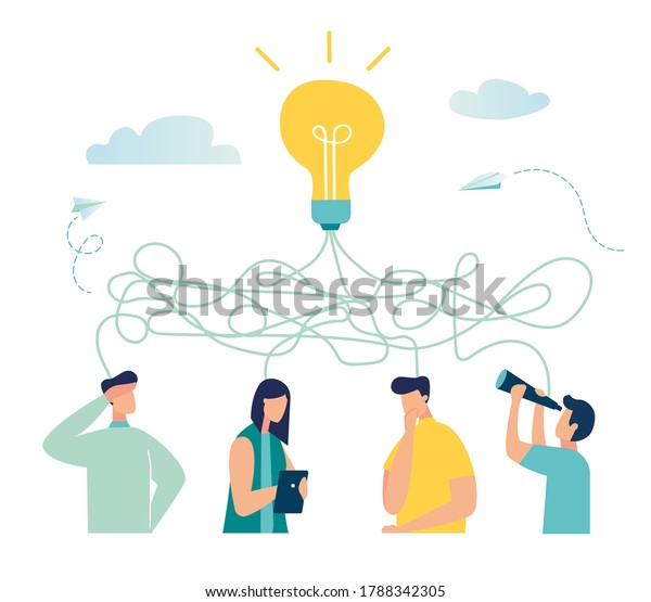 Vector illustration, tangled tangle, brainstorming, beginning and end to thought, abstract metaphor, concept of solving business problems