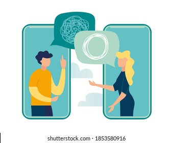 Vector illustration, tangled and untangled tangle. abstract metaphor, business problem solving concept, online communication problem and question resolution