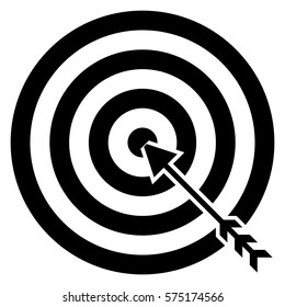 Vector Illustration of Target with Arrow Icon in black