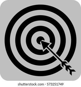 Vector Illustration of Target with Arrow Strategy Game Silhouette Icon in Black