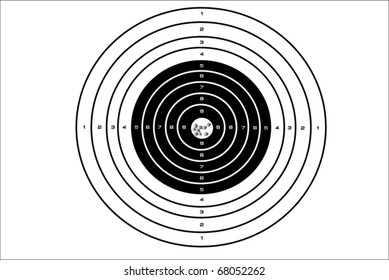 Vector illustration of target with bullet holes at a bull's eye