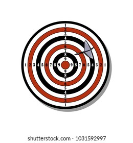 Vector illustration with target and darts on the white background.
