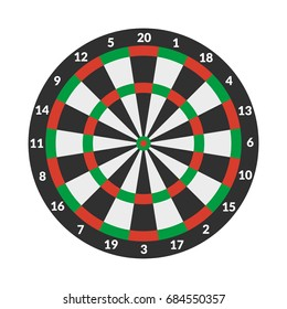 Vector illustration. Target darts on white background. Colorful icon.