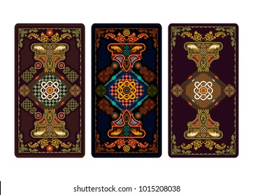 Vector illustration for Tarot and playing cards. Template for invitations, posters. Tarot cards