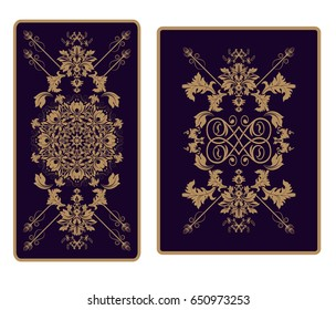 Vector illustration for Tarot and playing cards. Design for cards, invitations, labels