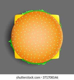 Vector Illustration Of Tasty 3D Traditional Cheese Burger In Color. Best Choice For Restaurants And Cafes Posters And Menu