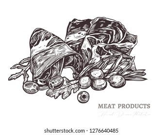 Vector illustration of tasty slices of meat, smoked pork or spanish jamon with olive, greenery and salad. Hand drawn colorful sketch engraving style in monochrome