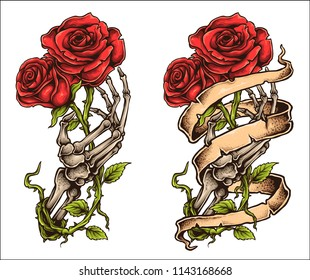 vector illustration of tattoo style drawing skeleton hand bones finger holding roses with ribbon