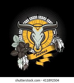 vector illustration Taurus emblem vintage frame with feathers on a black background
