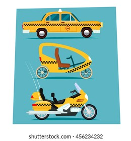 Vector illustration of taxi car,  Moto and  bicycle taxi