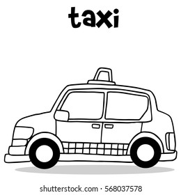 Vector illustration of taxi collection with hand draw
