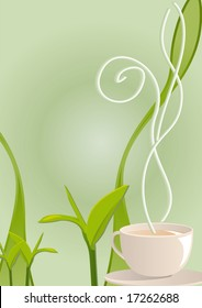 Vector illustration of a tea hot smoking cup with tea leaves