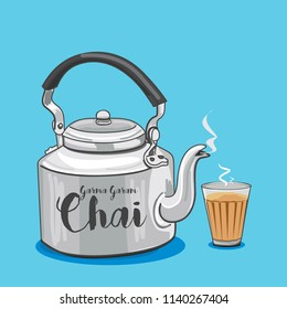 Vector illustration of tea kettle and glass
