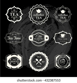 Vector Illustration with tea logo and labels. Simple symbols with cup and teapot.  Decorative elements for your design. Black and white style.
