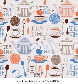 Vector illustration of tea party. Seamless pattern.