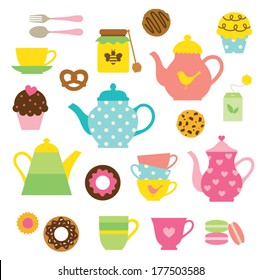Vector illustration of tea party set.
