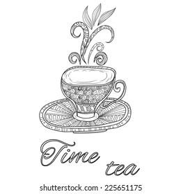 Vector illustration of Tea party vintage background