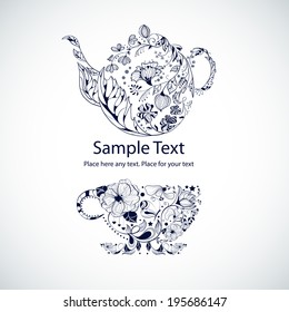 Vector illustration with tea pot and cup