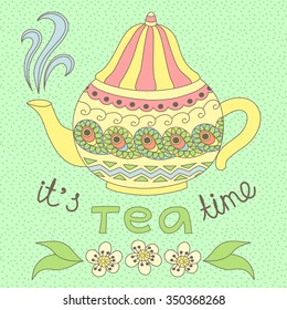 Vector illustration of a tea pot in doodle style.